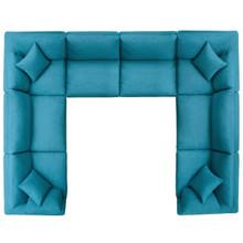 Commix Down Filled Overstuffed 8 Piece Sectional Sofa Set, Fabric, Aqua Blue 15760