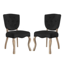 Array Dining Side Chair Set of 2, Velvet Fabric Wood, Black 15767