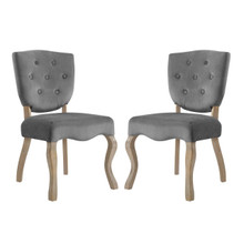 Array Dining Side Chair Set of 2, Velvet Fabric Wood, Grey Gray 15768