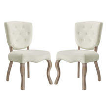 Array Dining Side Chair Set of 2, Velvet Fabric Wood, Ivory White 15769