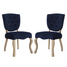 Array Dining Side Chair Set of 2, Velvet Fabric Wood, Navy Blue 15770