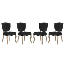 Array Dining Side Chair Set of 4, Velvet Fabric Wood, Black 15771