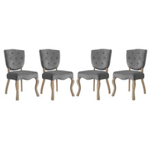 Array Dining Side Chair Set of 4, Velvet Fabric Wood, Grey Gray 15772