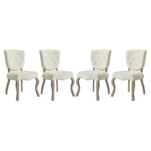 Array Dining Side Chair Set of 4, Velvet Fabric Wood, Ivory White 15773