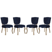 Array Dining Side Chair Set of 4, Velvet Fabric Wood, Navy Blue 15774