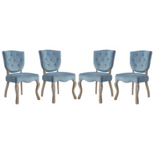 Array Dining Side Chair Set of 4, Velvet Fabric Wood, Blue 15775