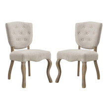 Array Dining Side Chair Set of 2, Fabric Wood, Beige 15776