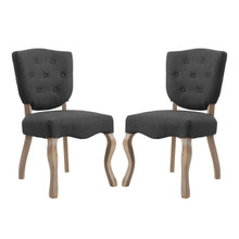 Array Dining Side Chair Set of 2, Fabric Wood, Grey Gray 15777