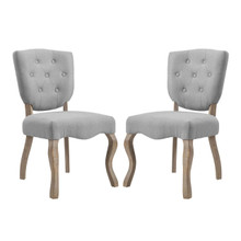 Array Dining Side Chair Set of 2, Fabric Wood, Light Grey Gray 15778