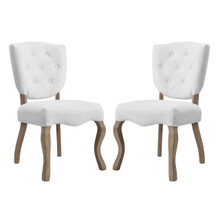 Array Dining Side Chair Set of 2, Fabric Wood, White 15779