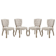 Array Dining Side Chair Set of 4, Fabric Wood, Beige 15780