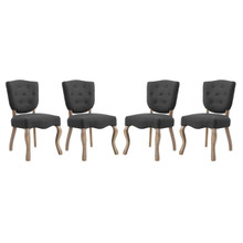 Array Dining Side Chair Set of 4, Fabric Wood, Grey Gray 15781