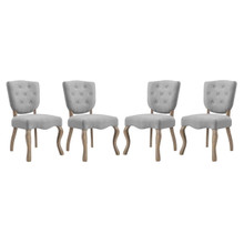 Array Dining Side Chair Set of 4, Fabric Wood, Light Grey Gray 15782