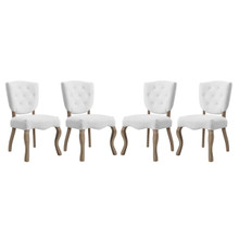 Array Dining Side Chair Set of 4, Fabric Wood, White 15783