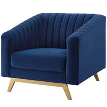 Valiant Vertical Channel Tufted Performance Velvet Armchair, Velvet Fabric Metal Steel, Navy Blue 15787