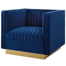 Sanguine Vertical Channel Tufted Accent Performance Velvet Armchair, Velvet Fabric Metal Steel, Navy Blue 15792