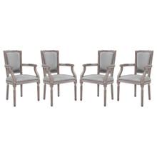 Penchant Dining Armchair Upholstered Fabric Set of 4, Fabric Wood Nail Rivet, Light Grey Gray 15794