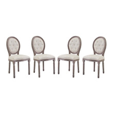 Arise Dining Side Chair Upholstered Fabric Set of 4, Fabric Wood, Beige 15802