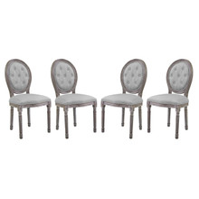 Arise Dining Side Chair Upholstered Fabric Set of 4, Fabric Wood, Light Grey Gray 15803
