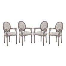 Arise Dining Armchair Upholstered Fabric Set of 4, Fabric Wood, Beige 15804