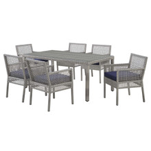 Aura 7 Piece Outdoor Patio Wicker Rattan Set, Rattan Wicker, Navy Blue Grey Gray 15873