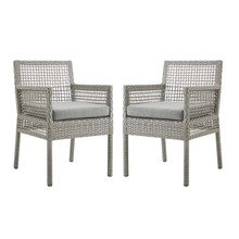 Aura Dining Armchair Outdoor Patio Wicker Rattan Set of 2, Rattan Wicker, Grey Gray 15875