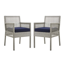Aura Dining Armchair Outdoor Patio Wicker Rattan Set of 2, Rattan Wicker, Navy Blue Grey Gray 15876