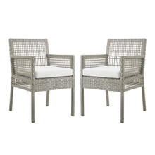 Aura Dining Armchair Outdoor Patio Wicker Rattan Set of 2, Rattan Wicker, Grey Gray White 15877