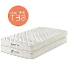 """Emma 6"""" Twin Mattress Foam Set of 2, Fabric, White 15912"""