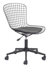 Wire Office Chair Black w/ Black Cushion, 16178