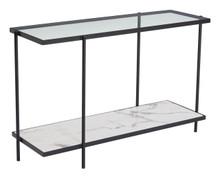 Winslett Console Table Clear & White & Matt Black, 16217