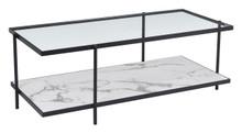 Winslett Coffee Table Clear & White & Matt Black, 16219
