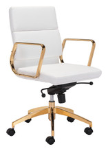 Scientist Low Back Office Chair Wht & Gd, 16238