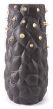 Black Cactus Vase Lg Black & Gold, 16489