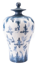 Mar Lg Temple Jar Blue & White, 16512