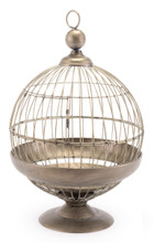 Round Birdcage Candle Holder Gray, 16597