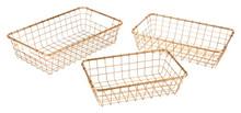 Set Of 3 Baskets Gold, 16634