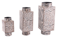 Set Of 3 Metal Vases Antique, 16639