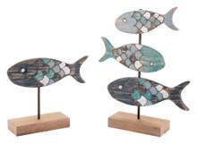 Set Of 2 Fish Figurines Antique, 16644