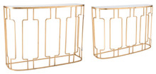 Roma Set Of 2 Console Tables Gold, 16722