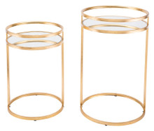 Set Of 2 Nesting Tables Gold, 16725