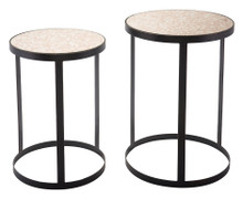 Antique Set Of 2 Tables Black, 16730