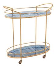 Zaphire Bar Cart Blue & Antique Gold, 16742