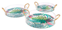 Tropical Set Of 3 Trays Multicolor, 16824