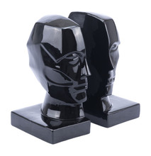 Face Bookends  Black, 17038