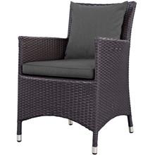 Convene Dining Outdoor Patio Armchair, Fabric Rattan Wicker, Drak Grey Gray, 17245