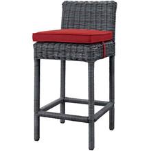 Summon Outdoor Patio Sunbrella Bar Stool, Sunbrella Fabric Rattan Wicker, Grey Gray Red, 17247