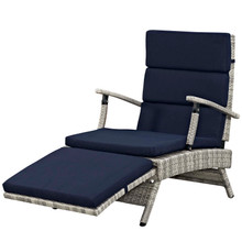 Envisage Chaise Outdoor Patio Wicker Rattan Lounge Chair, Fabric Rattan Wicker, Navy Blue, 17250