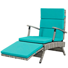 Envisage Chaise Outdoor Patio Wicker Rattan Lounge Chair, Fabric Rattan Wicker, Blue, 17251