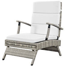 Envisage Chaise Outdoor Patio Wicker Rattan Lounge Chair, Fabric Rattan Wicker, White, 17252